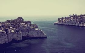 Обои пейзаж, горизонт, даль, высота, скалы, вода, море