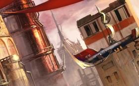 Обои город, фантастика, корабль, арт, Mazert Young, задния