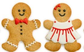 Обои праздник, Рождество, человечек, сладости, Новый год, Christmas, печенька