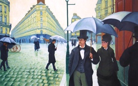 Обои люди, улица, дома, картина, зонт, городской пейзаж, Gustave Caillebotte