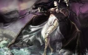 Обои девушка, крылья, демон, арт, цепи, league of legends, morgana