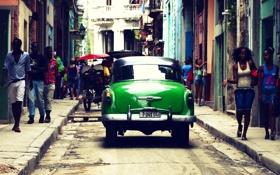 Картинка люди, улица, тень, сзади, автомобиль, Куба, Гавана