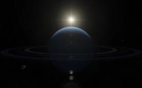 Картинка солнце, звезды, кольца, спутники, газовый гигант, neptune