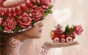 Обои девушка, цветы, розы, шляпа, арт, профиль, паровозик