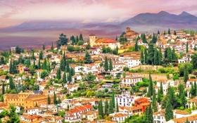 Обои испания, небо, горы, дома, холмы