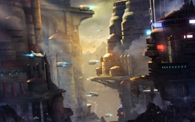 Обои city, concept, art, город будущего, Sci-fi
