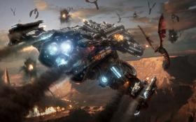 Картинка война, дым, корабль, StarCraft 2, mutalisk