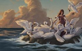 Обои сказка, девочка, братья, короны, дикие лебеди