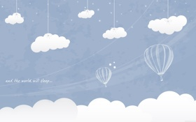 Обои воздушный шар, рисунок, and the world will sleep too