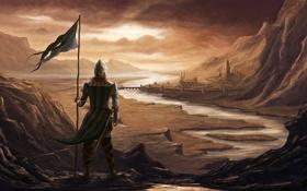 Картинка пейзаж, мост, город, река, замок, скалы, человек
