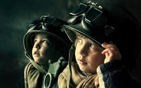 Картинка дети, очки, шлем, мальчики