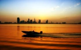 Картинка закат, пейзаж, река, лодка, город