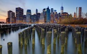 Картинка город, огни, река, здания, дома, Нью-Йорк, небоскребы