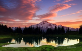 Картинка лес, небо, озеро, гора