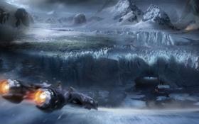 Обои ледник, пещера, горы, полёт, разлом, корабль