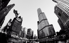 Картинка город, здания, Чикаго, Небоскребы, США, Америка, Chicago