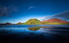 Картинка небо, трава, облака, горы, природа, озеро