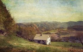 Обои овцы, горы, дом, стадо, забор, ферма