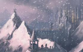 Обои снег, горы, мост, лицо, город, огни, люди