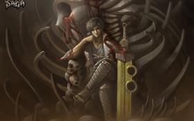 Картинка кровь, меч, кости, скелет, парень, anime, art