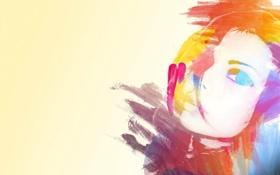 Картинка девушка, лицо, краски, рисунок, портрет