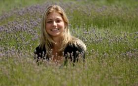 Обои улыбка, на природе, мария кириленко