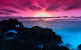 Обои закат, облака, скалы, море