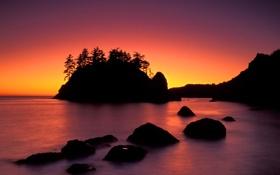 Картинка море, небо, закат, скала, силуэт, зарево