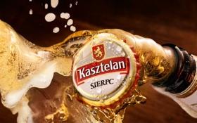 Картинка фон, бутылка, пиво, пробка, Kasztelan
