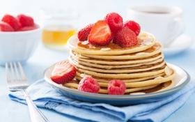 Обои ягоды, малина, еда, завтрак, клубника, мед, мёд