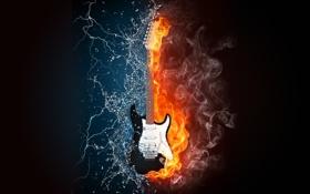 Обои вода, жизнь, музыка, огонь, молнии, Гитара