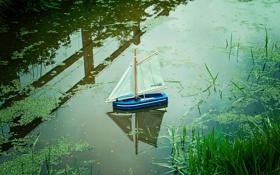 Картинка вода, макро, кораблик
