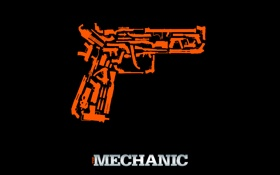 Картинка пистолет, оружие, надпись, силуэты, триллер, боевик, постер