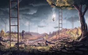 Обои деревья, цветы, птицы, человек, падение, арт, лестницы