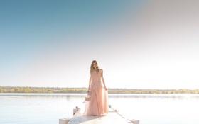 Картинка платье, река, горизонт, на берегу реки, солнце, тень, девушка