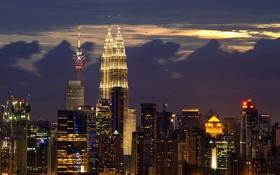 Обои здания, ночной город, небоскрёбы, Малайзия, Kuala Lumpur, Malaysia, Куала-Лумпур