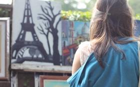 Картинка девушка, дерево, волосы, рисунок, эйфелева башня, заколка