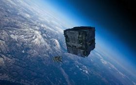 Картинка космос, корабль, планета, куб