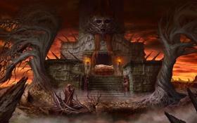 Обои деревья, лодка, жертва, арт, алтарь, факелы, мрачно