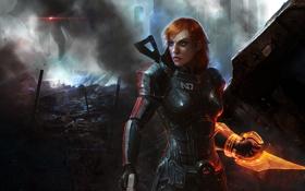 Обои игра, развалины, броня, game, Шепард, Mass Effect 3, Shepard