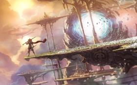 Картинка острова, город, камни, оружие, человек, портал, пух