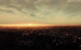 Обои город, небо, закат
