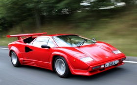 Обои авто, красный, Lamborghini, red, speed, Countach, LP5000