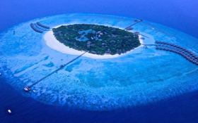 Обои океан, риф, Maldives, пляж, курорт, Мальдивы, пирс