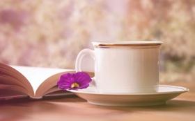 Обои цветок, кружка, книга, чайная пара