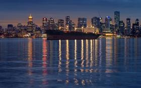 Обои вода, город, огни, океан, корабль, бухта, вечер