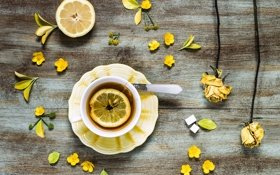 Обои цветы, лимон, чай, розы, желтые, сухие, ложка