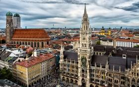 Обои небо, тучи, люди, пасмурно, здания, дома, Германия