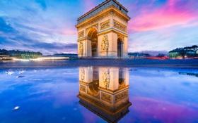 Обои вечер, Европа, арка, Paris, architecture, arc, arc de triomphe