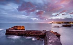 Картинка море, огни, берег, вечер